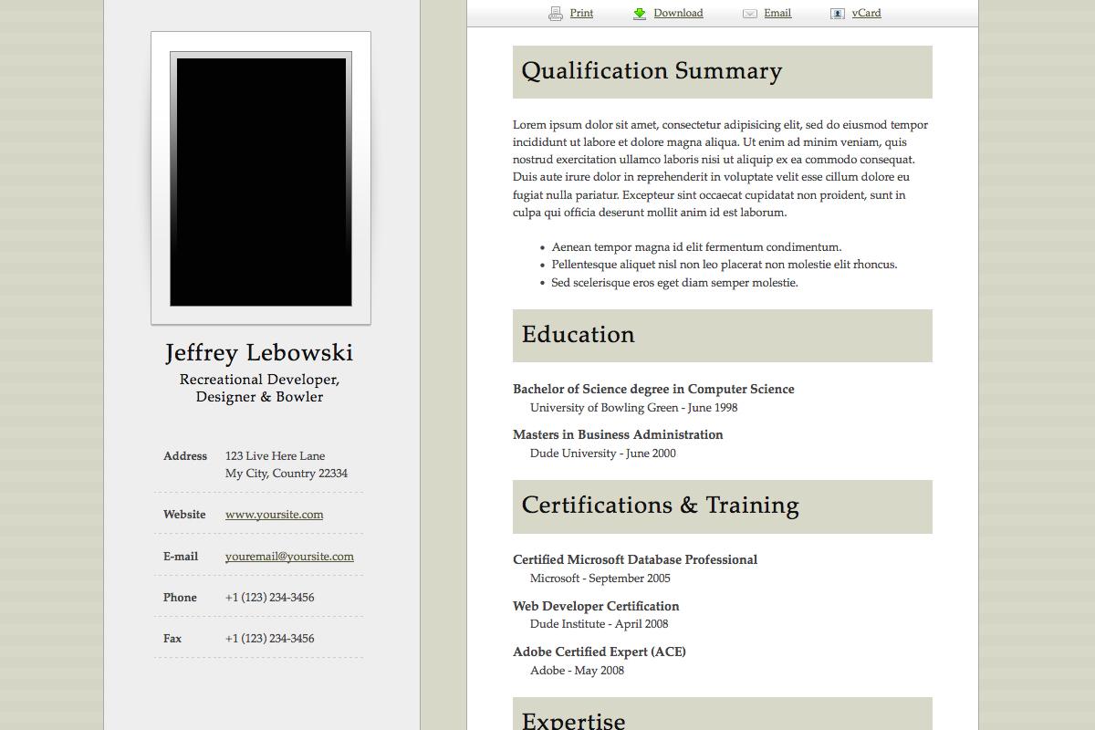 5 Examples Of Beautiful Resume Cv Web Templates