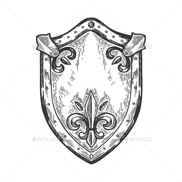 Ancient Knight Shield Engraving Vector by AlexanderPokusay