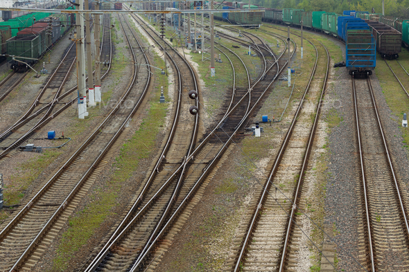 https photodune net item the railway junction on a cloudy day natural light landscape 22605306