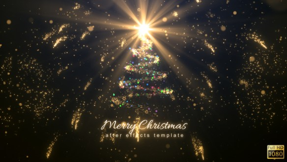 Christmas magic light reveal After Effects Template with tree light