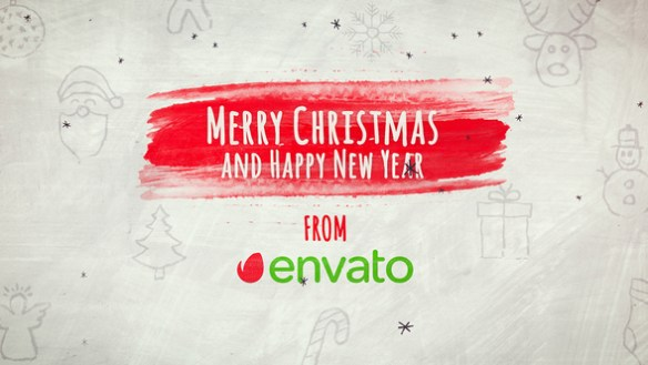Merry Christmas, Hand Drawn Brush Opener After Effects Template 1920×1080 Full HD