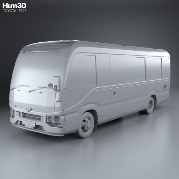 toyota coaster deluxe bus 2016 3d model