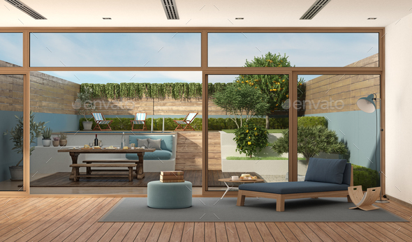 Modern Living Room With Garden On Background Stock Photo By Archideaphoto