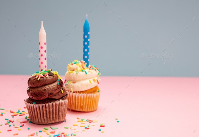 Two Birthday Cupcakes With Candles On Blue And Pink Pastel