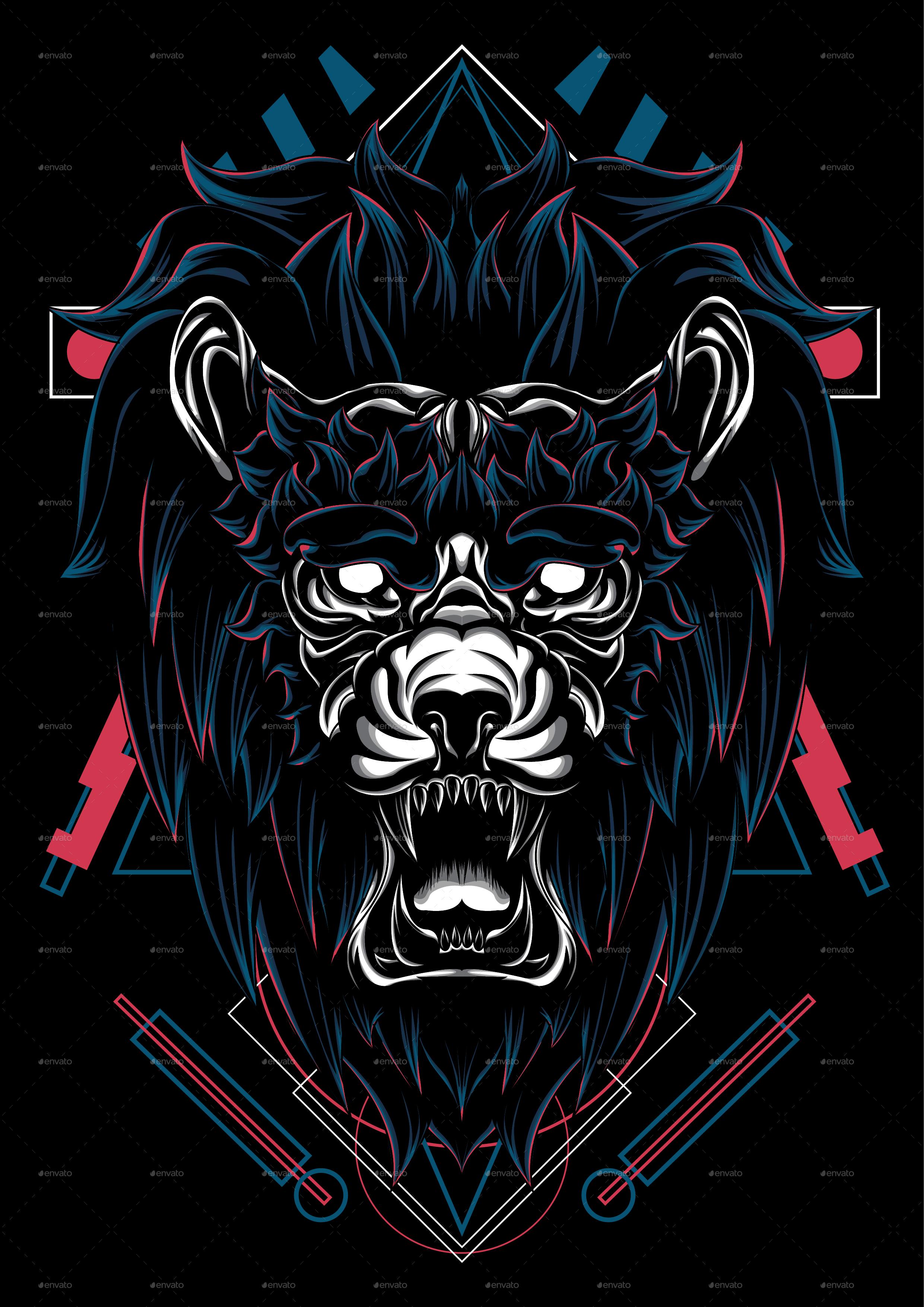 angry lion king sacred