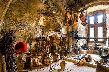 Vintage kitchen interior in ancient castle Europe Stock Photo by NomadSoul1