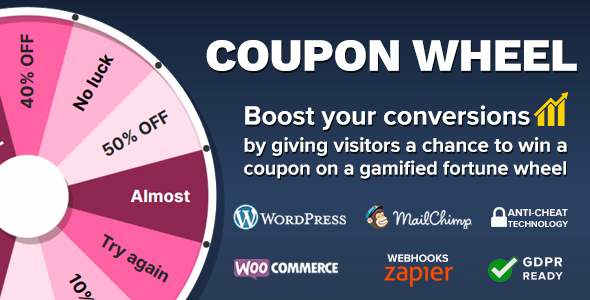 Coupon Wheel For WooCommerce and WordPress version 3.3.2