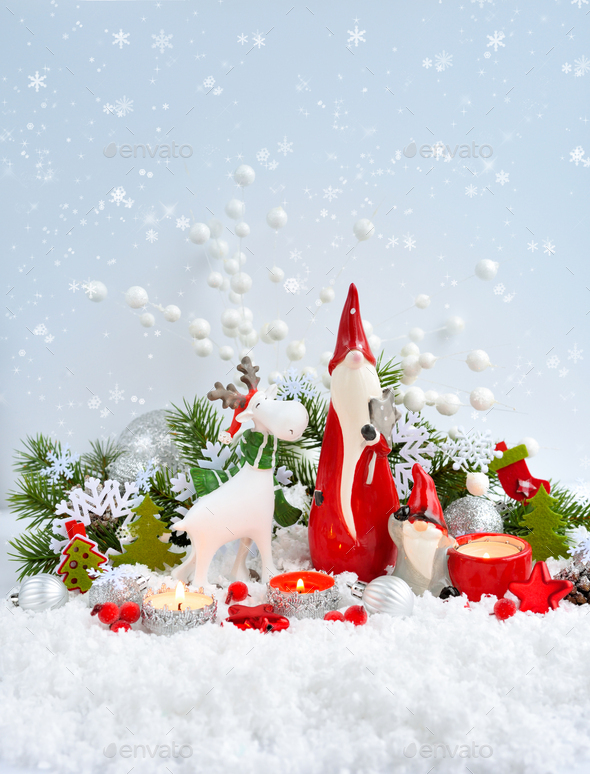 Christmas Decorations Cute Figure Elk And Gnomes With Festive Decorations On The Snow Stock Photo By Nataljusja