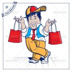 shopping cartoon boy