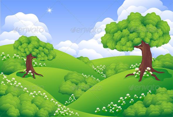 Landscape Green Hills with trees flowers cloud by kulik