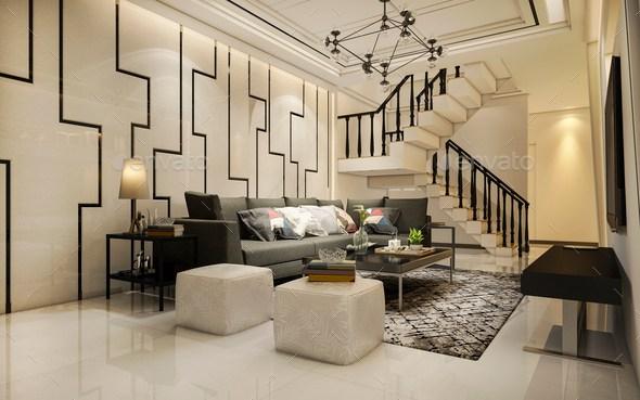 3D Rendering Vintage Warm Tone Wood Living Room Near Stair Stock | Stair Room Exterior Design | 3 Floor Building | Box Type | Brick | Open Plan | Amazing