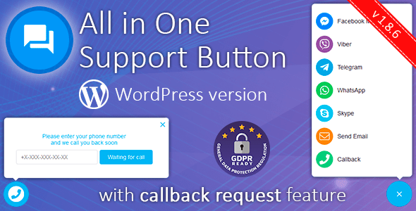 All in One Support Button + Callback Request. WhatsApp, Messenger, Telegram, LiveChat and more... version null