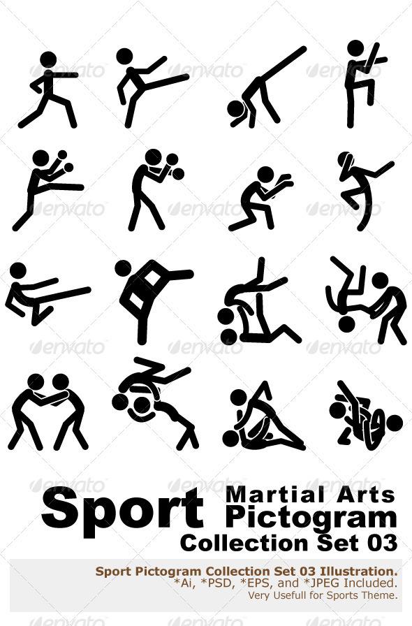 Sport Pictogram Icon Set 03 Martial Arts by branca_escova