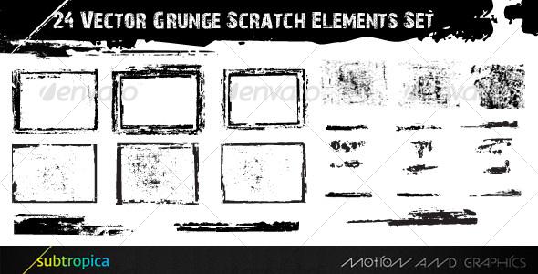 24 Vector Grunge Scratch Elements Set by subtropica