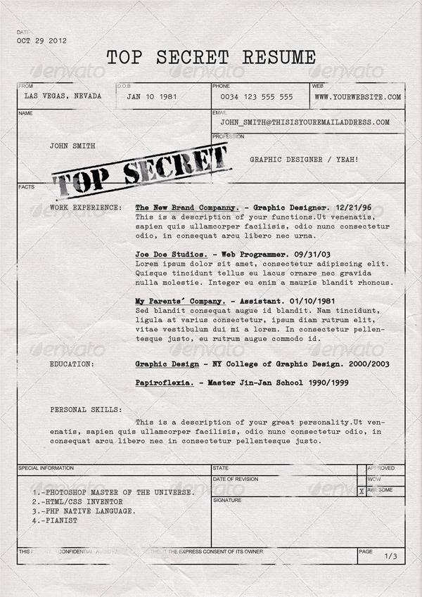Top Secret Resume CV By Dengio GraphicRiver