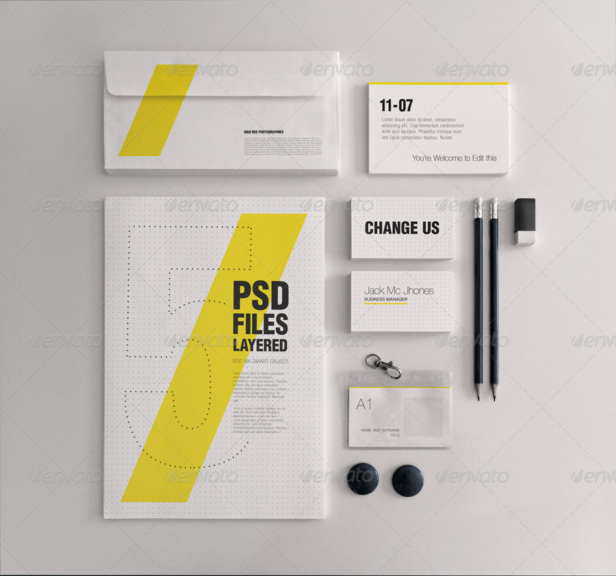 realistic stationery mock up