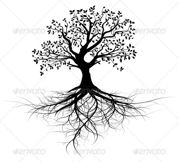 Vector Tree with Roots Silhouette, Black Outline by