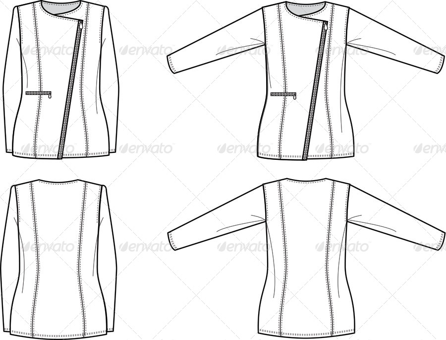 Flat Fashion Sketches for Womens Structured Jacket by