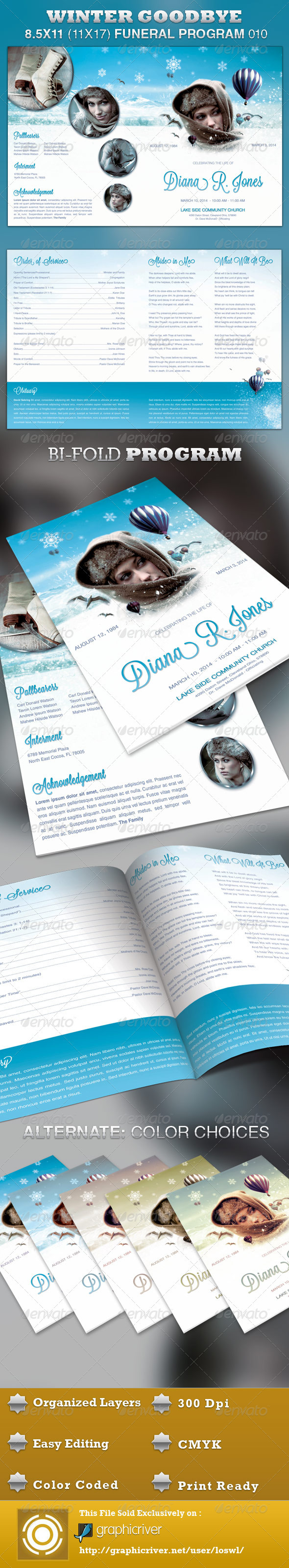 Winter Goodbye Funeral Program Template 010 By Loswl GraphicRiver