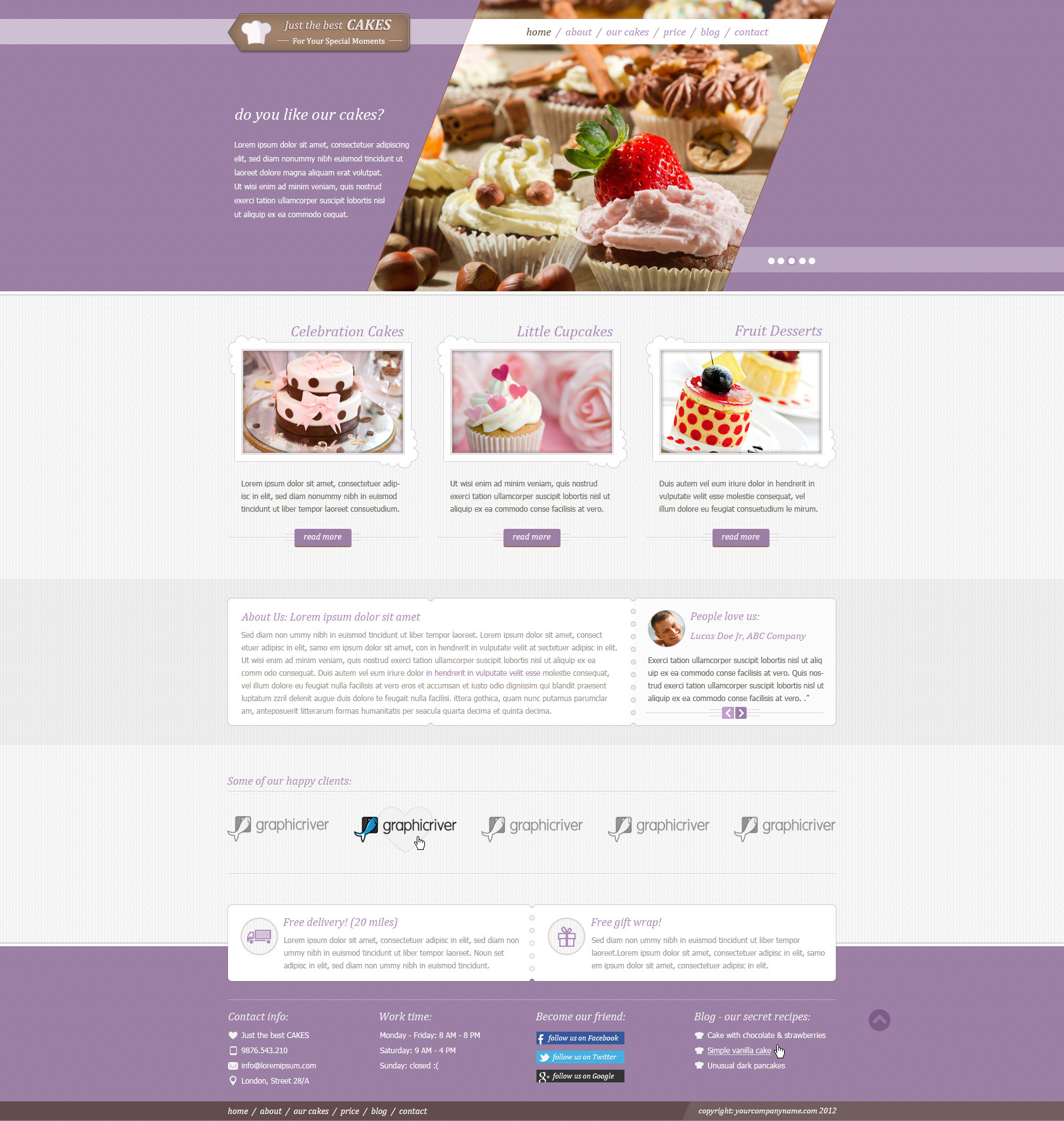 Justcakes Cake Bakery Html Template By Templatation Themeforest