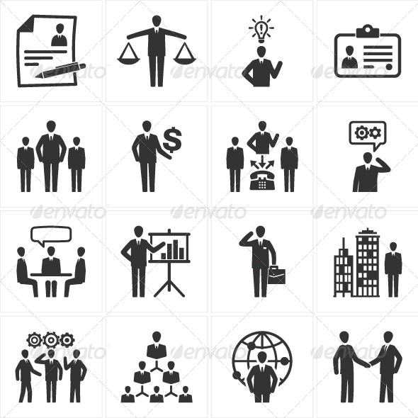 Management and Human Resource Icons by introwiz1
