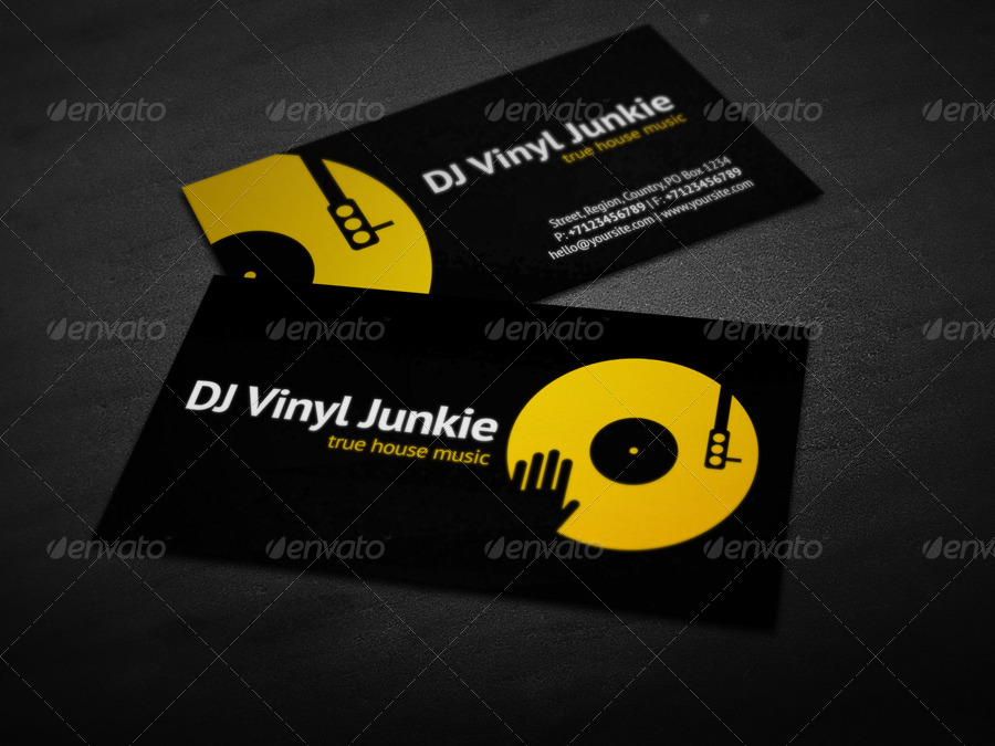 Vinyl DJ Business Card by vinyljunkie  GraphicRiver