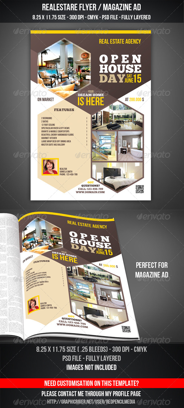 free real estate flyer psd template