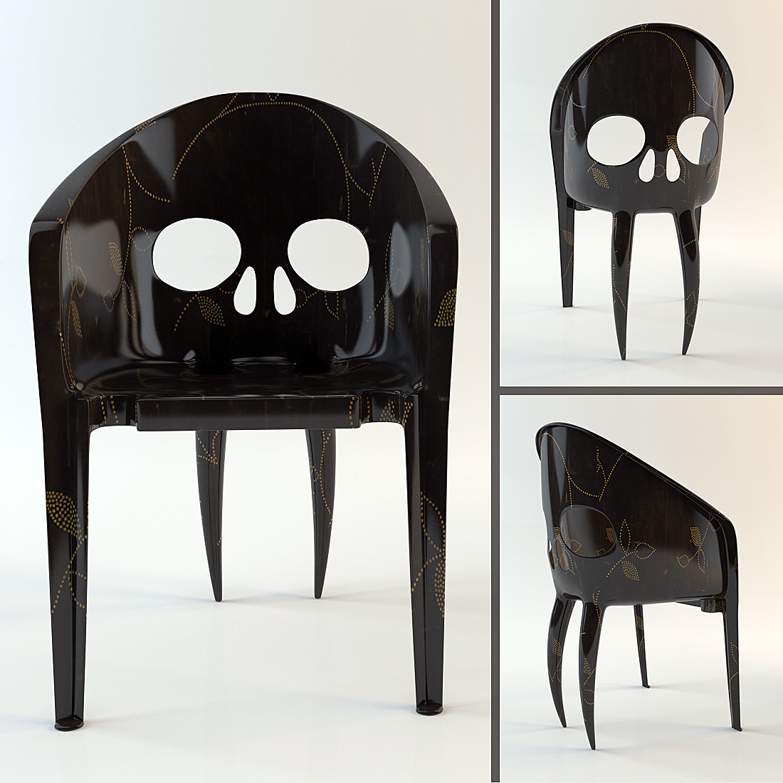 wooden skull chair without back quotthe with fangs quot hi poly model by valentin