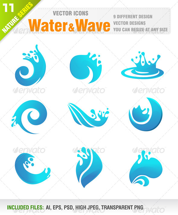 Wave Icon Png : Water, Icons, Jackrust, GraphicRiver