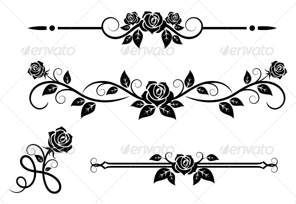 Rose Flowers With Vintage Elements By VectorTradition
