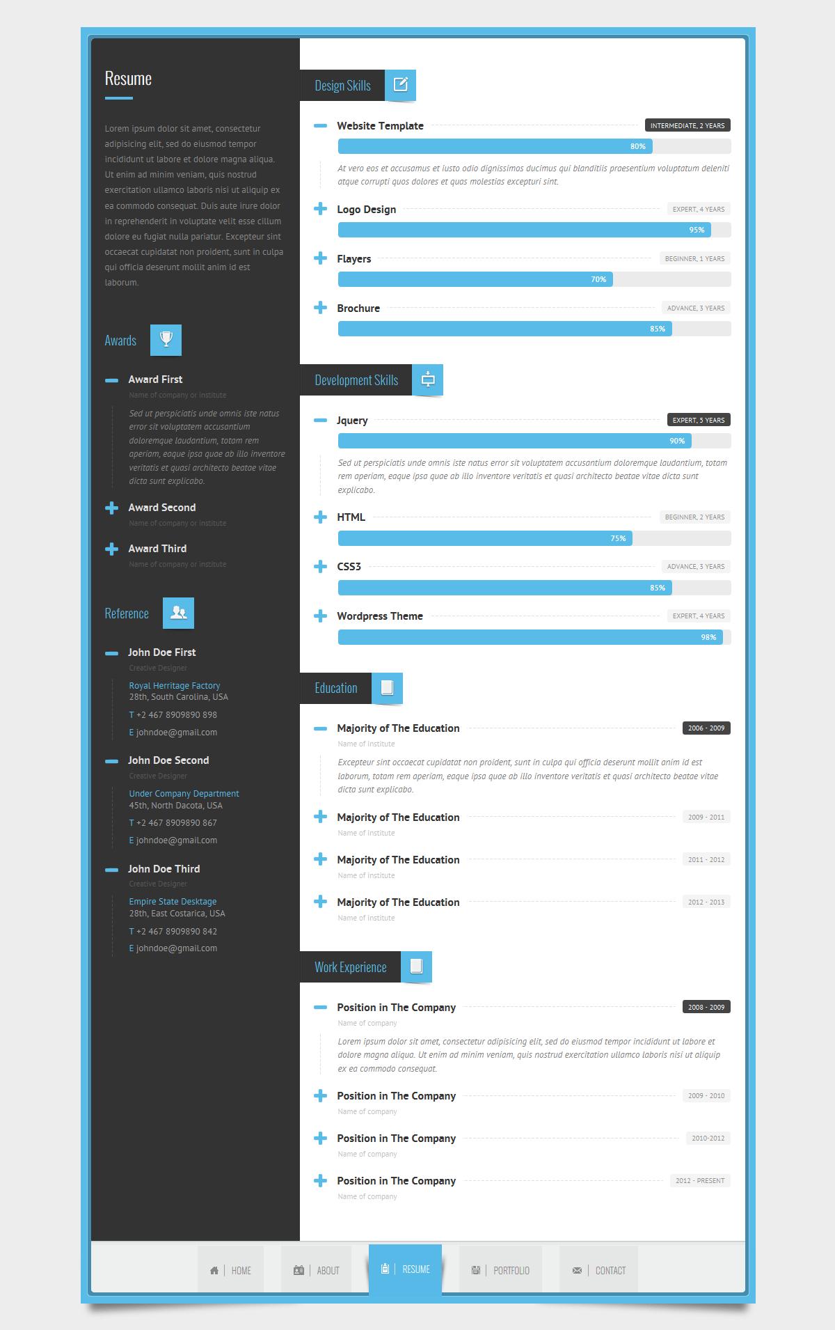 Rayhan HTML Resume Template CV Vcard By Wpamanuke ThemeForest
