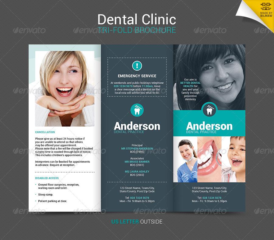Dental Clinic TriFold Brochure by bilmaw  GraphicRiver