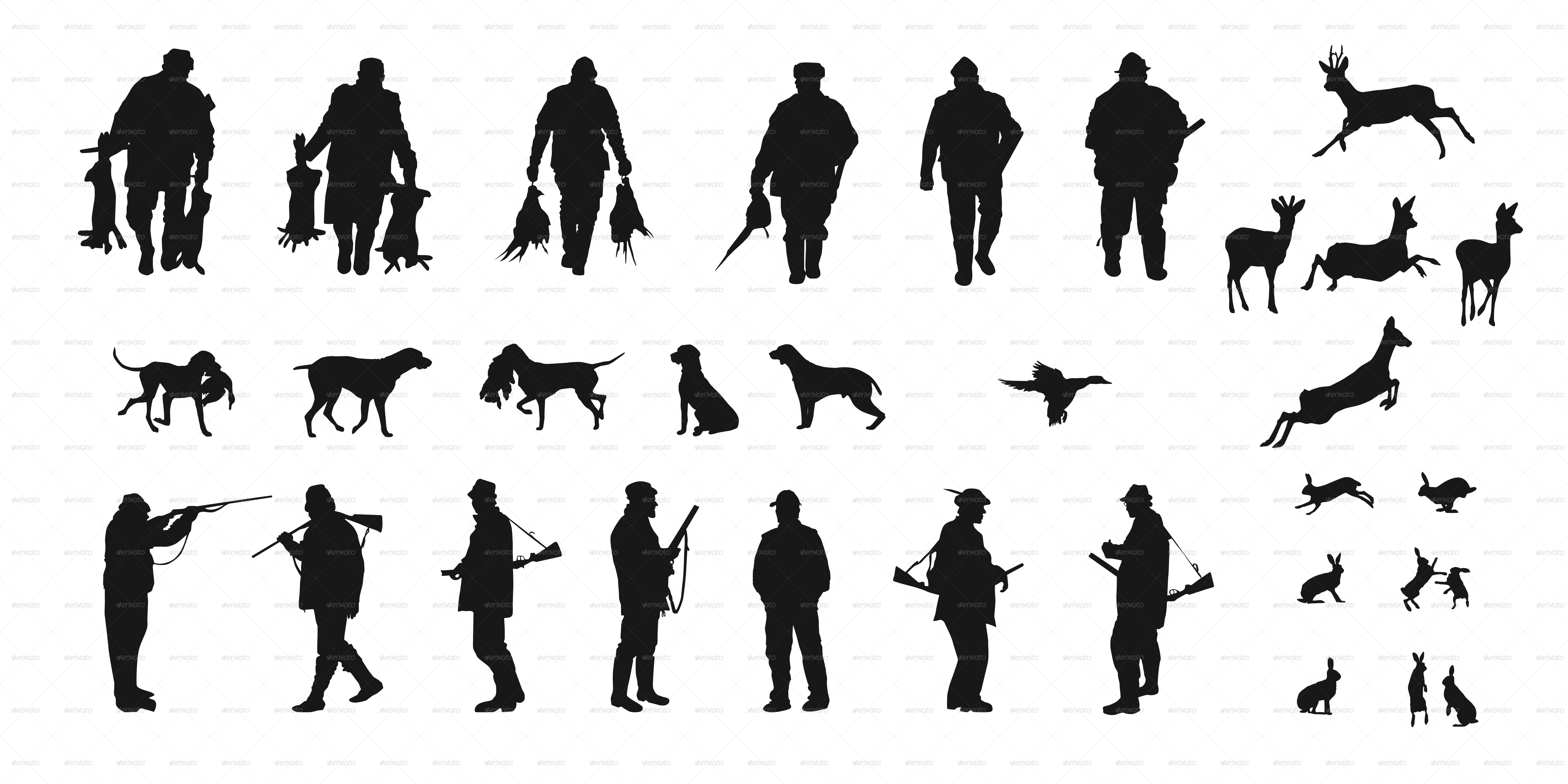 Set Of Silhouettes Of Hunters Dogs And Wildlife By