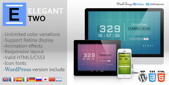 ElegantTwo - Animation Responsive Coming Soon Page