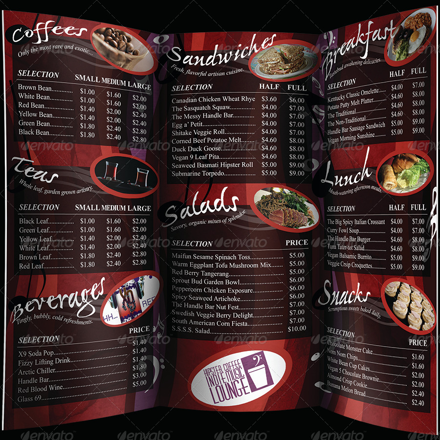 Coffee Music Cafe Tri Fold Menu By UnknownDepths