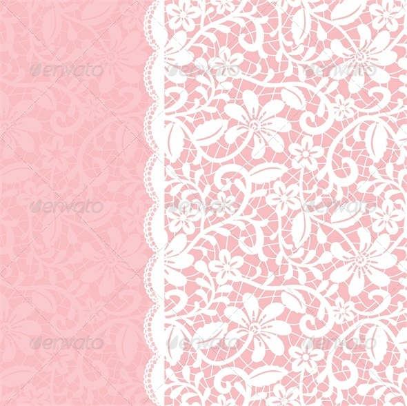 Wedding Invitation Or Greeting Card With Lace Backgrounds Decorative