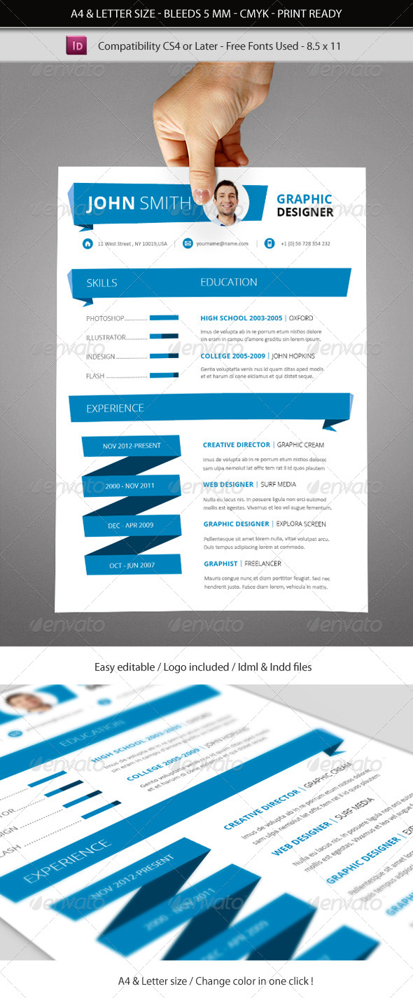 indesign resume free template