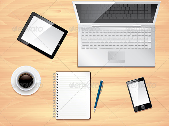 Office desk top view photo realistic vector by andegro4ka