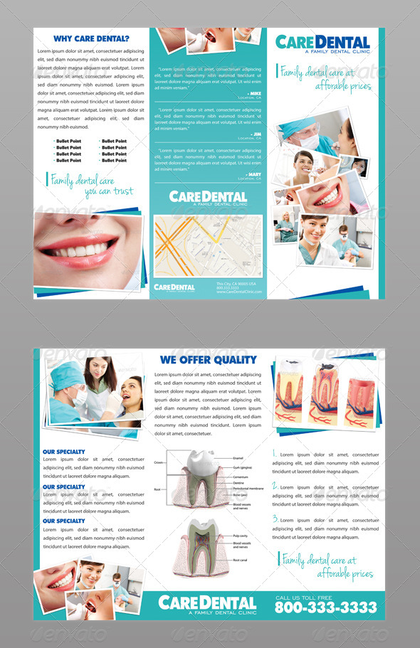 Dental Trifold Brochure by ModernLion  GraphicRiver