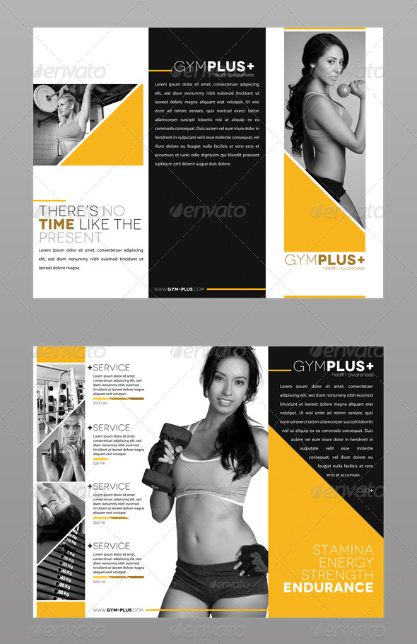 Fitness Gym Trifold Brochure by ModernLion  GraphicRiver