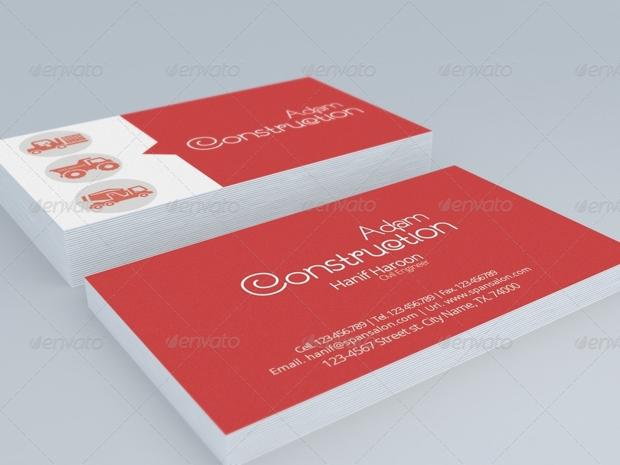 Builders  Construction Business Card by HanifHaroon  GraphicRiver