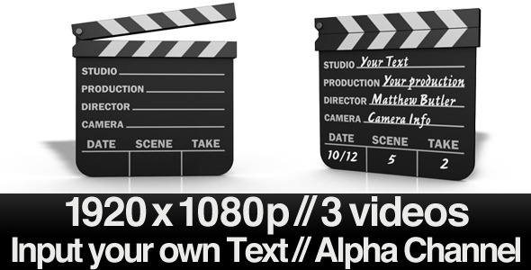 Movie Clapper Board Series of 3  Alpha  AE File by