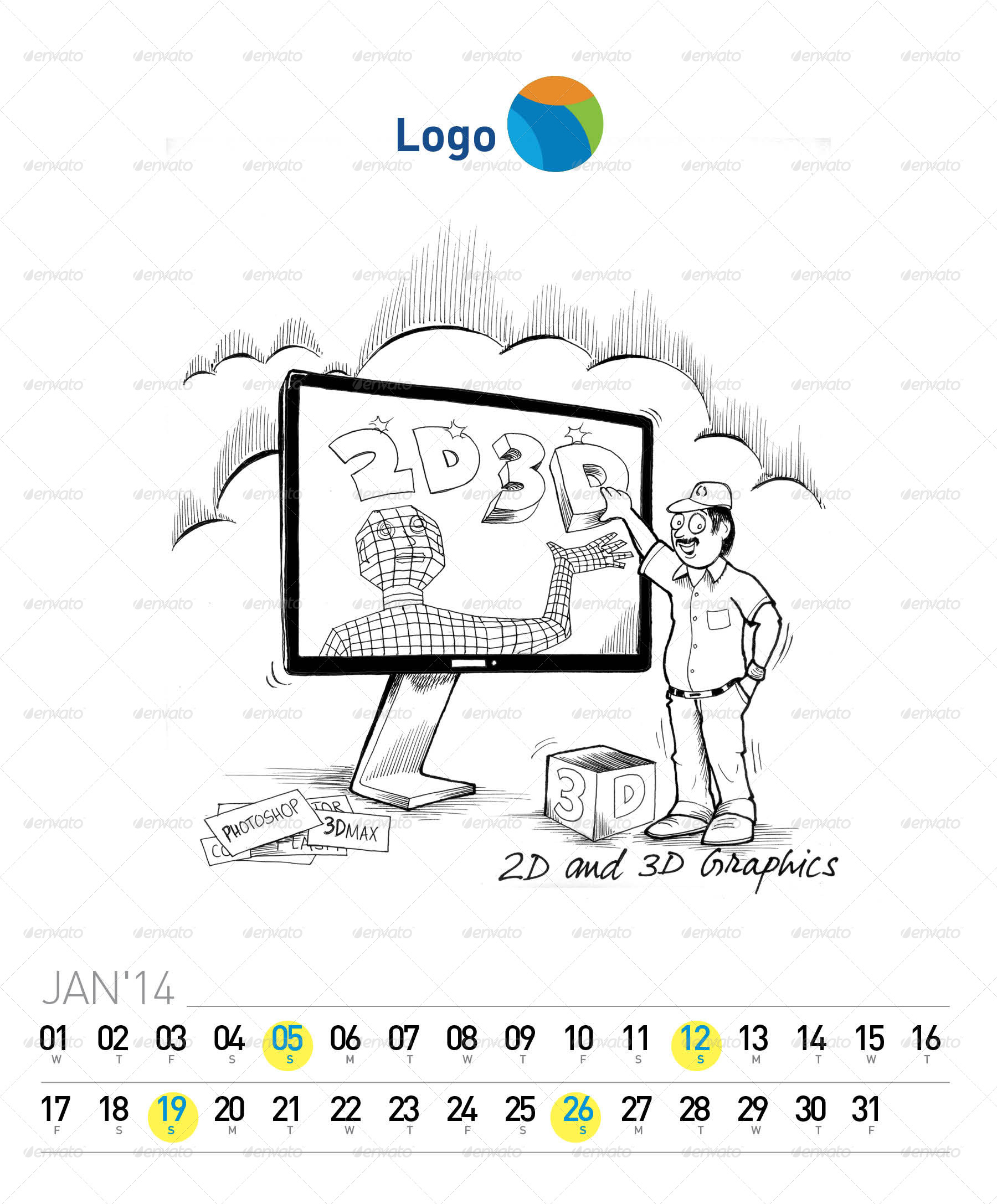 Creative 2014 Desk Calendar (with Illustration) by