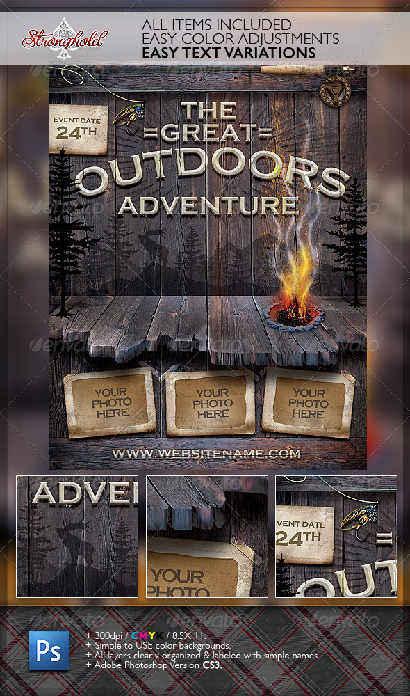 Vintage Outdoor Camping Adventure Flyer by getstronghold  GraphicRiver