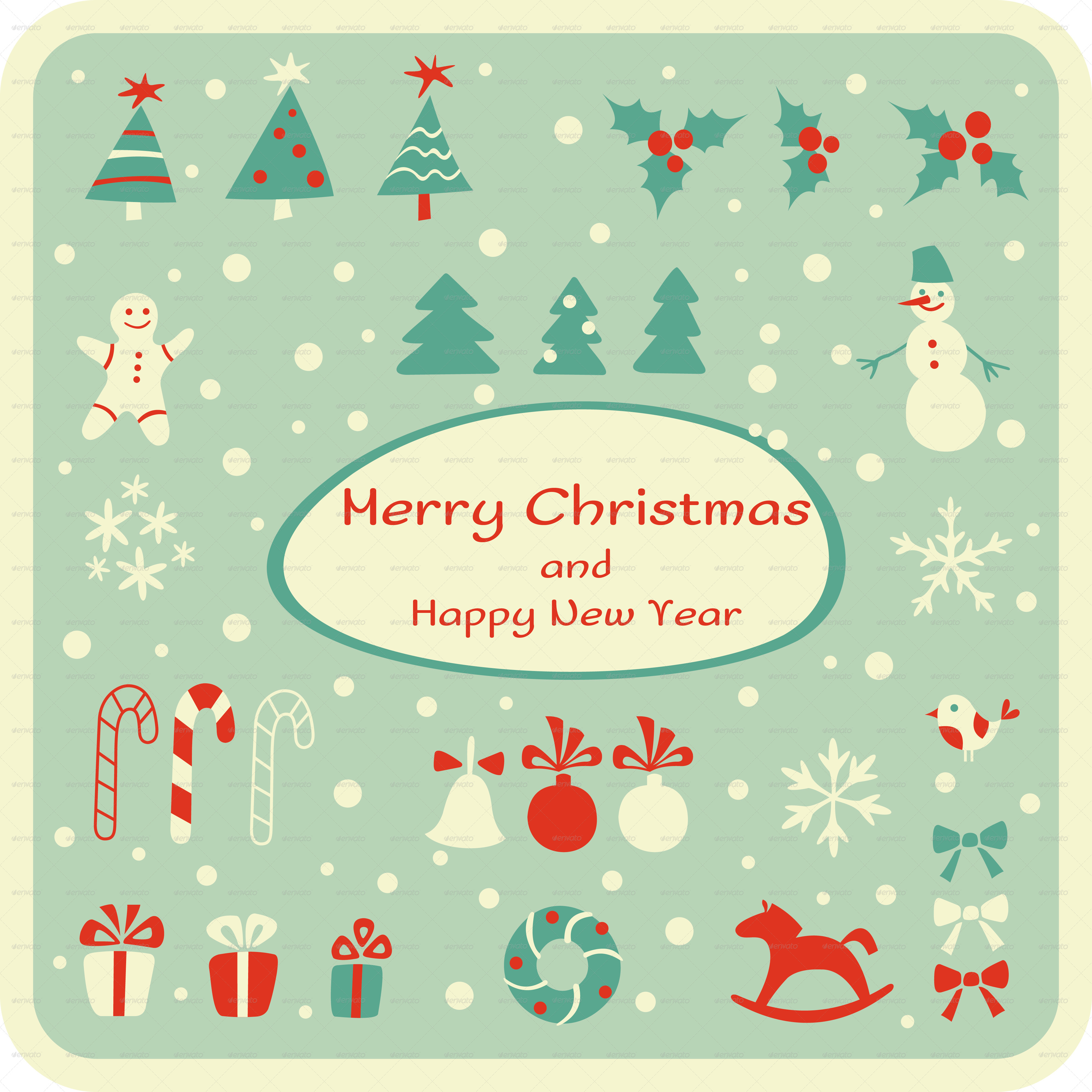 Set Of Christmas Design Elements And Cards By 7romawka7