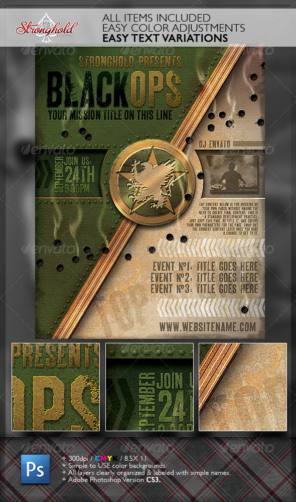 Vintage Black Ops Military Crest Flyer Template By Getstronghold GraphicRiver