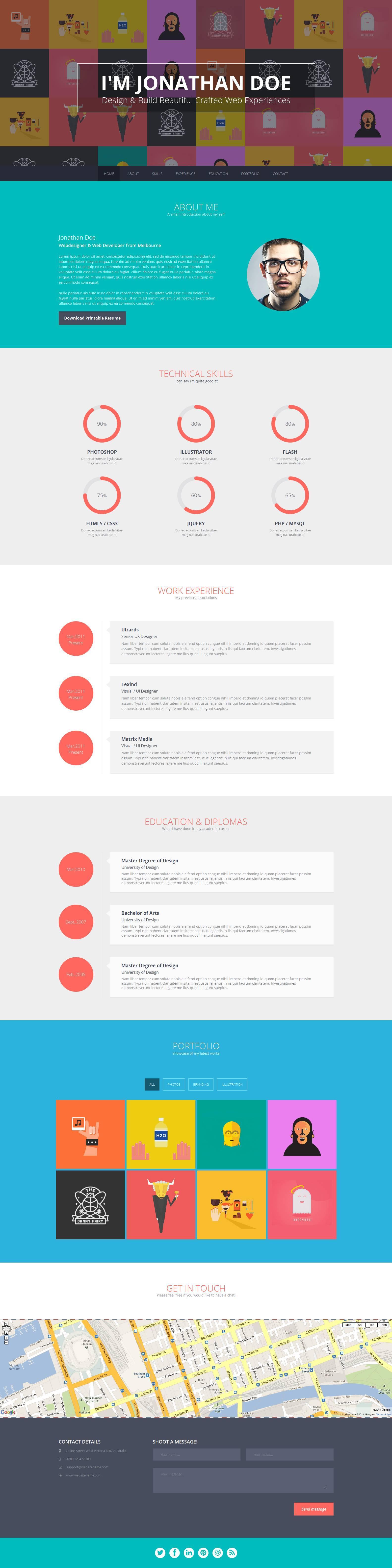 Flato - Responsive Resume, Personal Portfolio Temp by themeelite ...