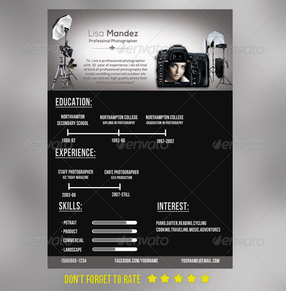 Simple Photographer Resume By Joy99 GraphicRiver