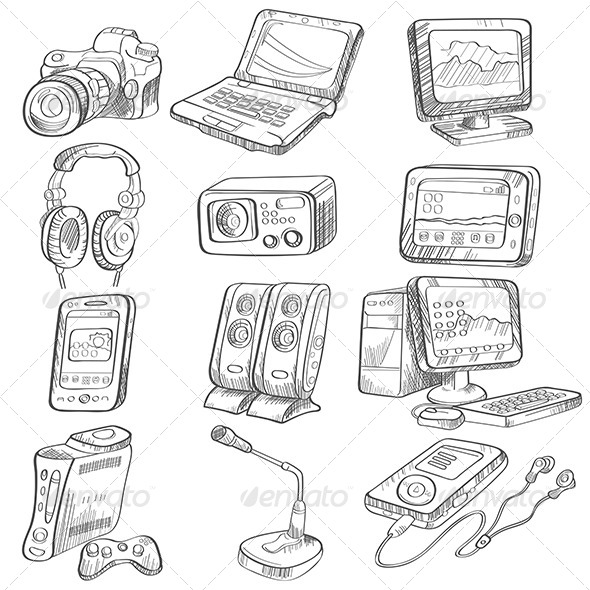 Pencil Drawing of Electronic Gadget by artisticco