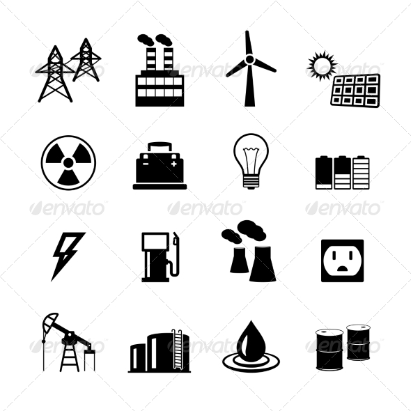 Energy Power Pictograms Collection by macrovector